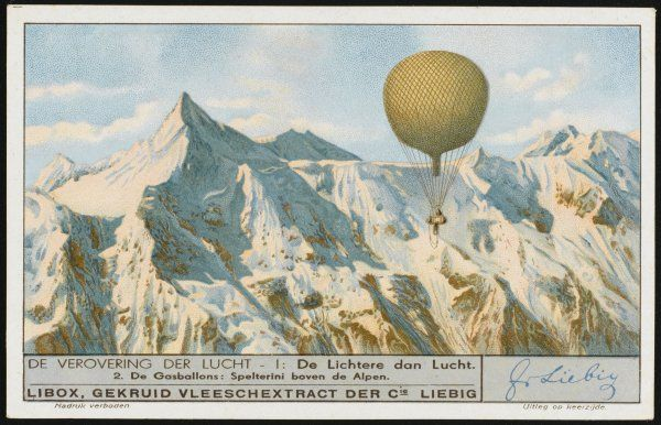 Swiss aviator Eduard Spelterini achieves the first flight over the Swiss Alps in his balloon 'Wega&#39