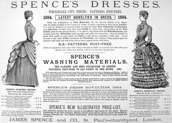 An advertisement for Spence's Dresses, from James Spence and co, St Pauls churchyard, London