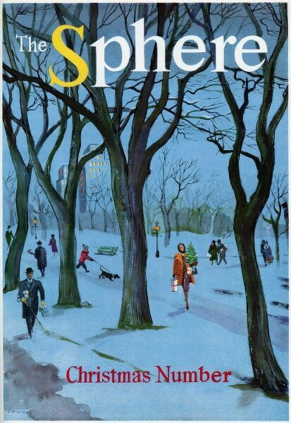 Front cover illustration depicting various people in a park, walking through the snow armed with presents and Christmas trees