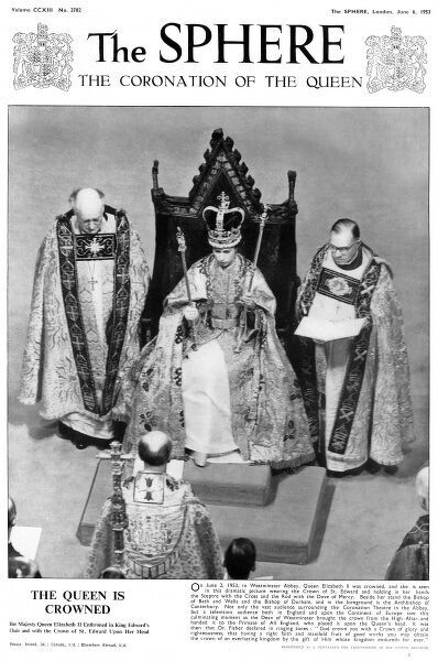Front cover showing the coronation ceremony of Queen Elizabeth II. Date: 6th June 1953