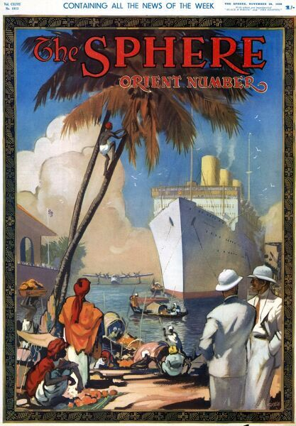 Colour front cover image showing a cruise ship docking in an Asian country