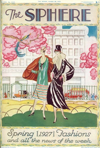 Colour illustration for the front cover of The Sphere spring fashion number showing two women in a springtime setting