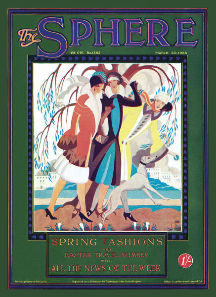 Front cover design for The Sphere's spring fashion number, showing three elegantly dressed women out on a breezy spring day with a dog