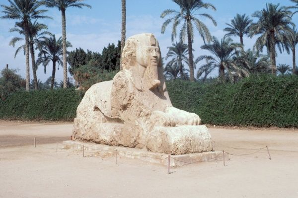 A sphinx statue at Memphis in alabaster c.1567-1320 BC. 8 metres long and 4.25 metres tall