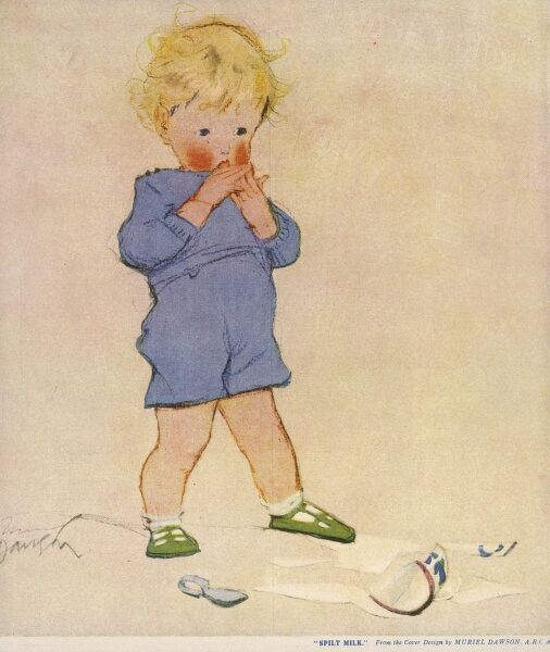 A little blond boy in blue shorts looks upset and worried after spilling and breaking a jug of milk