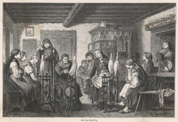 A 'Rockensitz' - literally, a distaff session - among peasant women in lower Austria ; the old lady tells stories as she spins, the young ones listen