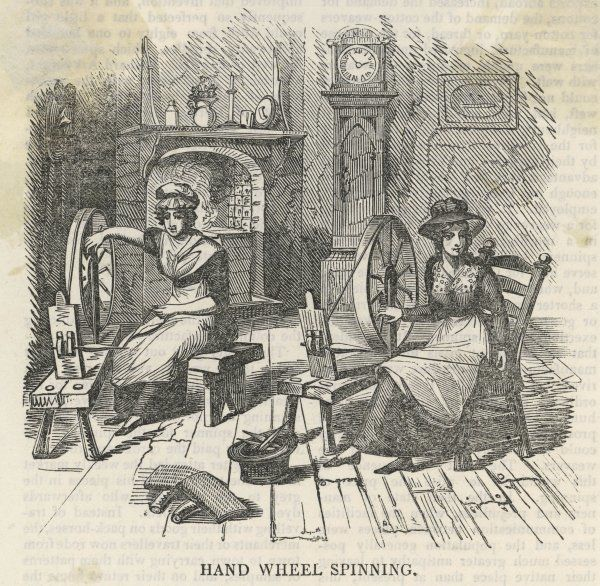 Roving and spinning : the woman on the right is spinning cardings (rolls of cotton fibre) into rovings (coarse thread) which her companion spins into the finer weft