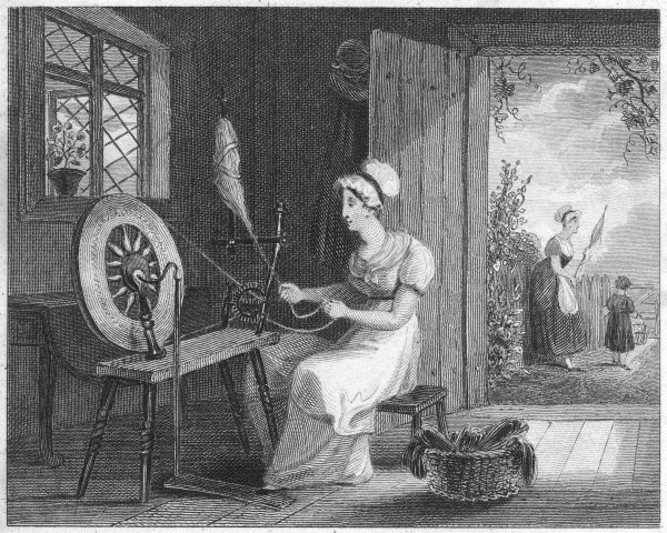 A woman spins flax at home into thread for linen using a spinning wheel
