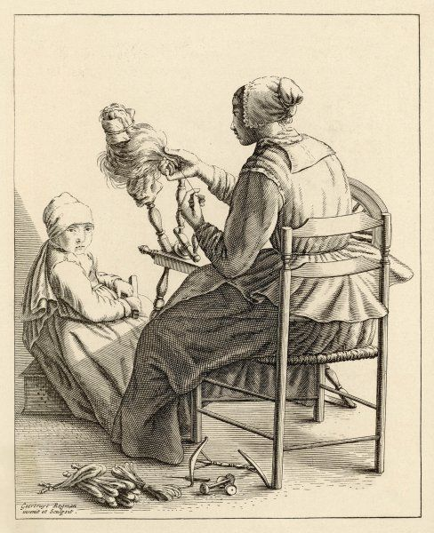 A Dutch woman at her spinning wheel, with hanks of thread at her feet