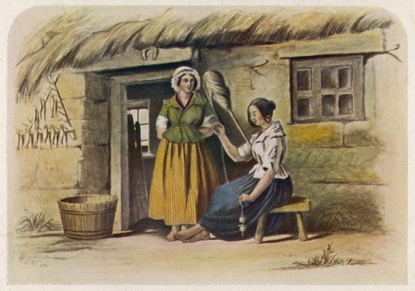 A girl spins with a distaff outside a Scottish cottage