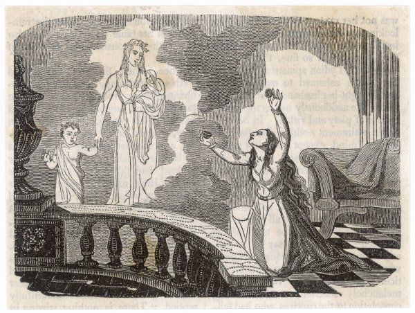 A lady is alarmed by the apparition of a mother with two children Date: circa 1820