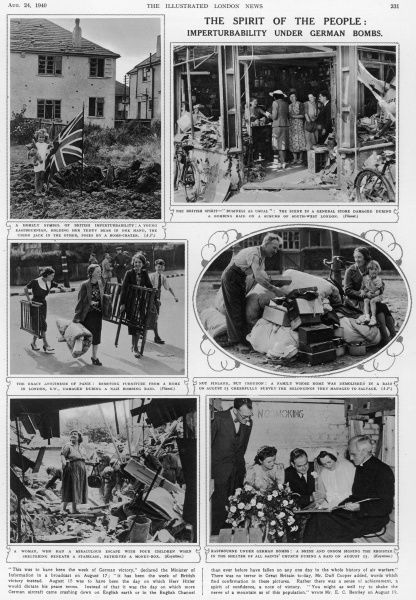 Six photos showing the imperturbability of British citizens when faced with German bombings: 'You might as well try to shake the nerve of a mountain as of this population' wrote Mr E.C. Bentley on August 19th