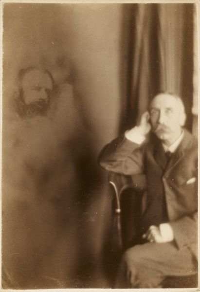 Photo by English spirit photographer Richard Boursnell showing Mr Rist and an unidentified male spirit, probably father or brother