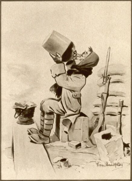 A Tommy in his trench helps himself to a generous glug of something alcoholic from a stoneware jug