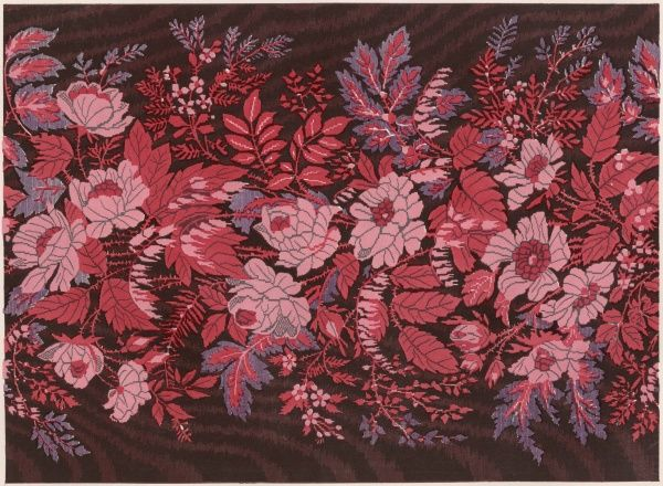 A stunning floral design in silk brocade by Vanner of Spitalfields, London, and displayed at the Crystal Palace