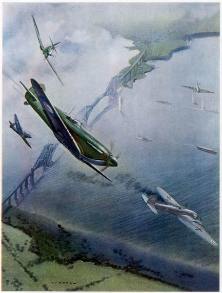 German Heinkel IIIs over the Forth Bridge are intercepted by Spitfires - the first defensive aerial action of the war