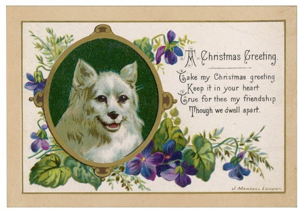An oval portrait of a dog graces the front of this Christmas card acompanied by a touching rhyme