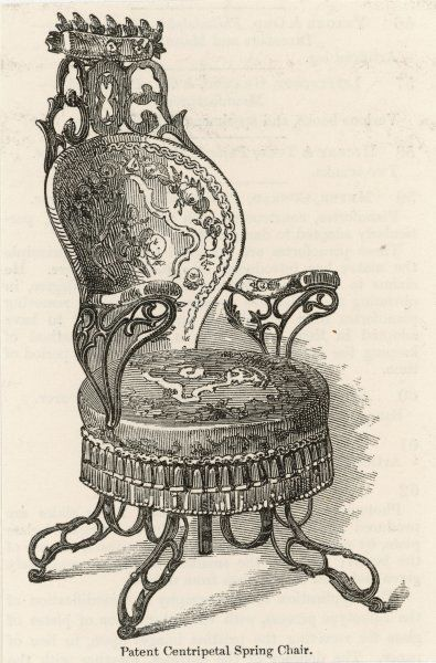 A triumph of American Victoriana, this Patent Continental Spring Chair is exhibited by the American Chair Company at the Crystal Palace