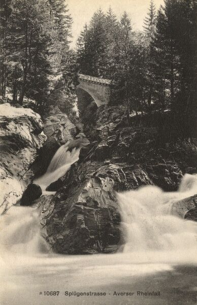 Switzerland - Splugenstrasse crossing a waterfall on the River Rhein (the beginnings of the great European River). Date: 1910s