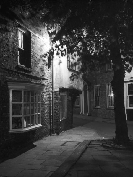A night scene on a lonely and rather spooky corner of the Pavement, York, England