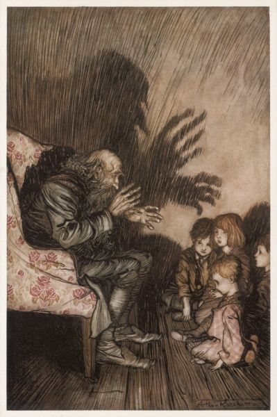 An old man tells creepy stories to children before they go to bed