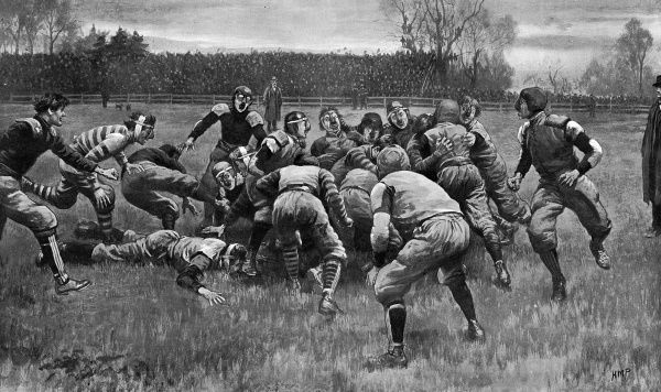 Yale versus Columbia 'The game must, indeed, be rough, to judge by the costume assumed by the players...' Date: 1901