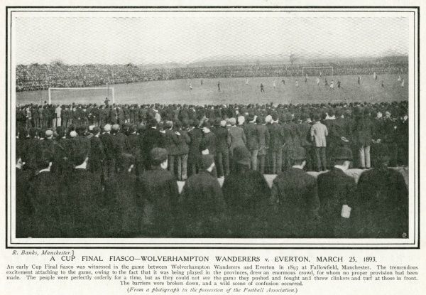 WOLVERHAMPTON WANDERERS Vs EVERTON. FA Cup Final of 1893, played at Fallowfield, Manchester. Wolves won 1-0