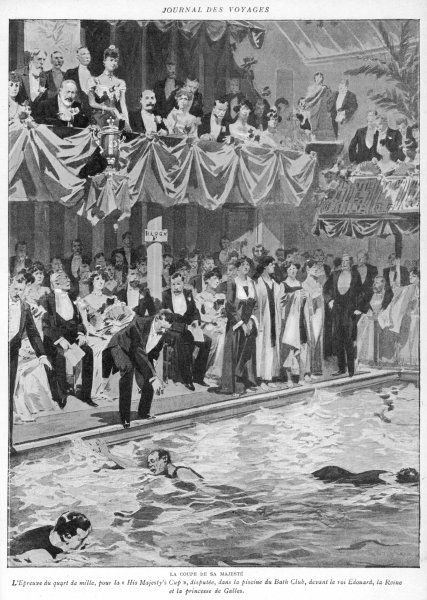 A swimming contest at the Bath Club, London : the quarter- mile race for His Majesty's Cup, watched by the King & Queen and a fashionable crowd