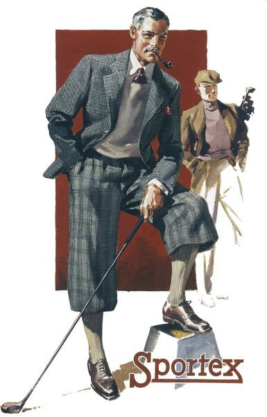 Advertising poster for Sportex men's clothing showing two dapper gents dressed immaculately in plus fours and jackets ready for a round of golf
