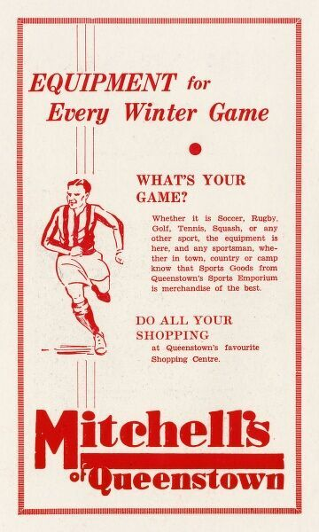 Advert for Queentown's (South Africa) finest sports emporium, Mitchell's, where equipment for every winter game is available