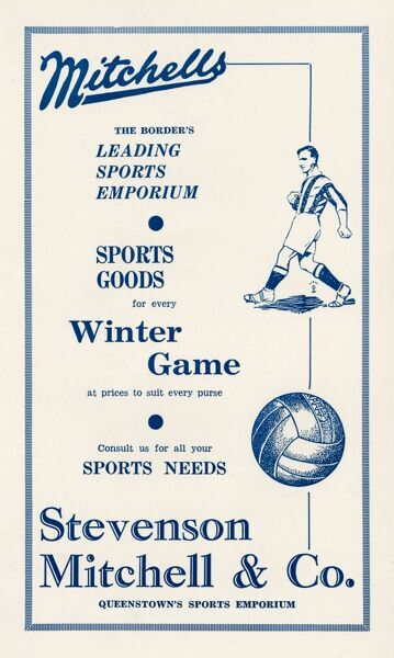 Advert for Mitchells leading sports emporium in Queenstown, South Africa. A football player and ball are featured