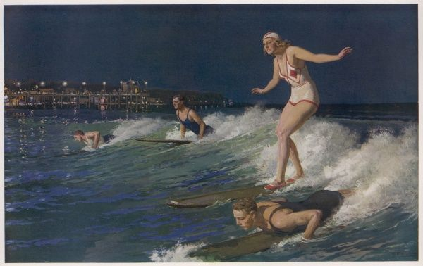 A group of surfers surfing at nightime
