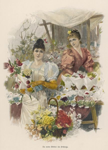 Two pretty & fashionable German flower girls offer ready-made bouquets from their stall