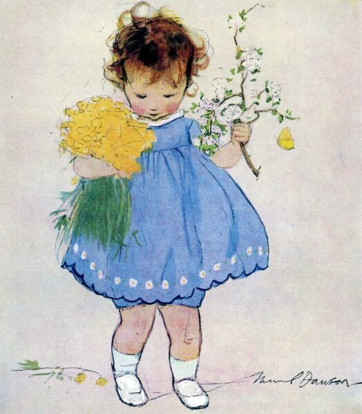 A little girl in a blue smock dress carries a bunch of daffodils and a twig of spring blossom