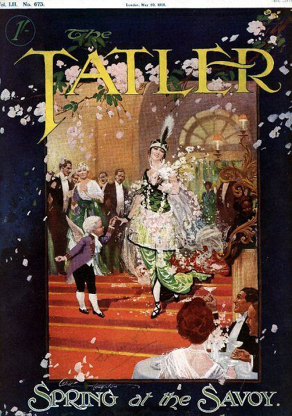 A front cover illustration from The Tatler showing fashionably dressed women walking into The Savoy hotel in London