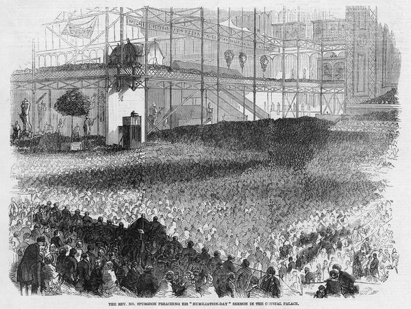 CHARLES HADDON SPURGEON delivers his 'Humiliation-Day' sermon at the Crystal Palace
