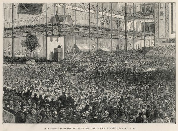Mr Charles Haddon Spurgeon, the famous Baptist preacher, preaching at the Crystal Palace on Humiliation Day, October 7th 1857
