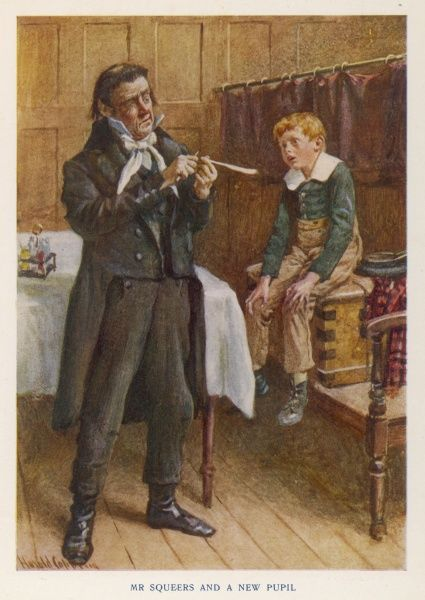 Wackford Squeers, the sinister proprietor of Dotheboys Hall, prepares to mistreat a new boy pupil