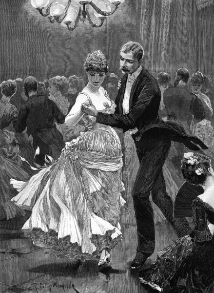 THE SQUIRE'S BALL dance in a country house Date: 1886