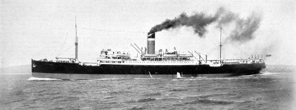 Photograph of the Ellerman twin-screw liner, SS 'City of Exeter' on passage from Britain to Calcutta, July 1914