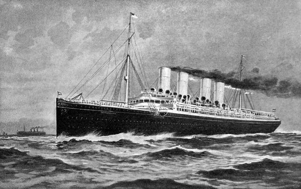 Illustration of the Hamburg-American Liner 'Deutschland', launched in 1900 and holder of the Blue Riband for the fastest Atlantic crossing from 1900-1906. In September 1900, 'Deutschland' crossed the Atlantic in 5 days and 7 hours