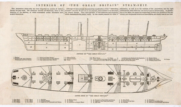Illustrations showing a side cutaway view and an overhead view of Brunel's steamship, launched in 1843