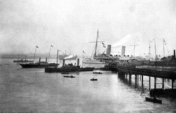Photograph of the Royal Yacht 'Alberta', with King Edward VII on board, leading SS 'Ophir', with the Duke of Cornwall and York, out of Portsmouth harbour, March 1901