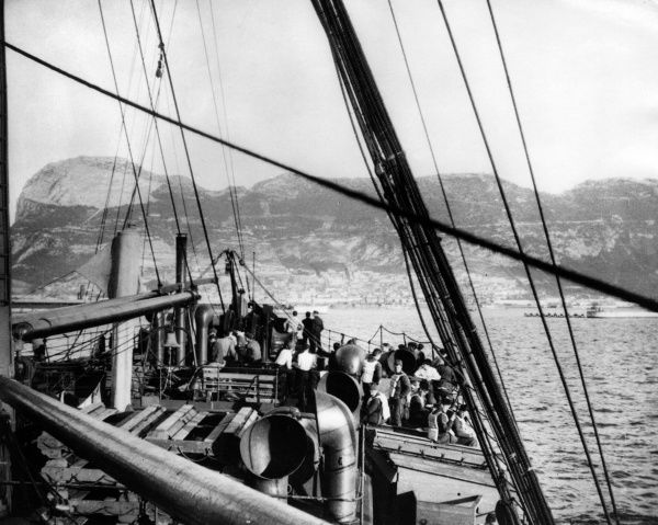 The British SS Saxon, a cruise ship used for transporting troops during the First World War, seen here off Gibraltar on the way to Egypt. Date: spring 1917