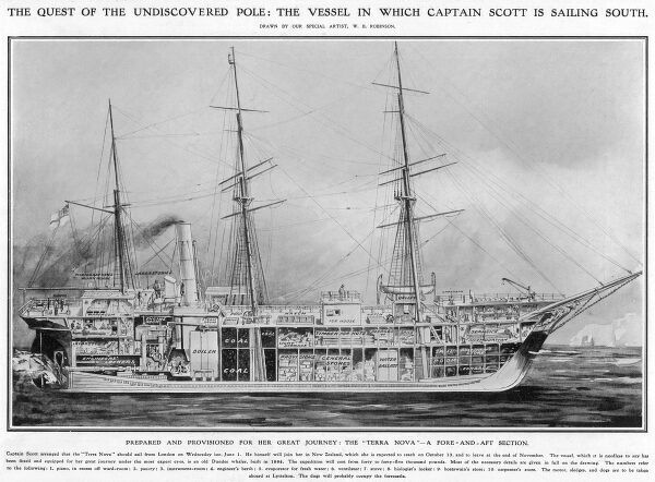 Cut-away illustration of the 'Terra Nova', the ship that Captain Scott used in his second expedition to the Antarctic, 1910-1913