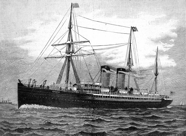 Engraving of the Cunard steamship 'Umbria'. During a crossing from Queenstown to New York in December 1892, the 'Umbria's' propellor shaft broke and she was disabled, turning a routine trip of a week into an adventure of 13 days