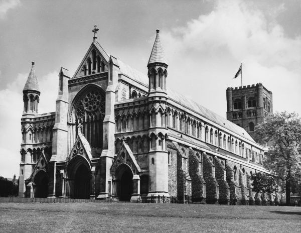 St Alban's Cathedral, Hertfordshire. The Abbey was founded in 793 by Offa, King of Mercia, supposedly on the site of the martyrdom of St Alban in A.D. 303