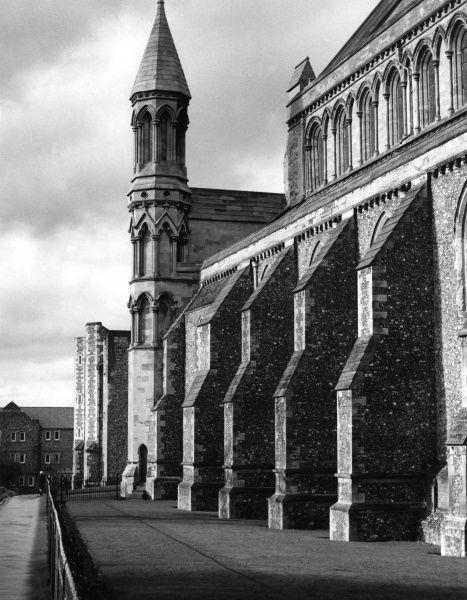A study of buttresses and a wall turret of St Alban's Cathedral Abbey, Hertfordshire. England, founded on the site of the martyrdom of St. Alban in A.D. 303. Date: founded 793 A.D