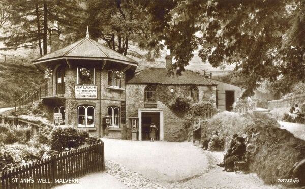 St Ann's Well, Malvern. The spring or well is named after St Ann; the maternal grandmother of Christ and the patron saint of many wells. The building dates back to 1813 and houses the well or spring (and a cafe!). Date: circa 1910s