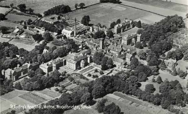 Aerial view of St Audry's Hospital at Woodbridge, Suffolk, originally erected in 1765 as a workhouse formerly known as the House of Industry for Looes and Wilford Incorporated Hundreds. In 1827, it was converted to become the Suffolk County Lunatic Asylum